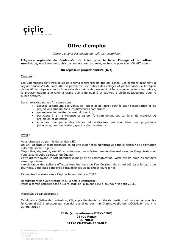Offre D Emploi Regisseur Projectionniste Ciclic